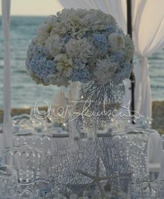 Inexpensive Wedding Venues In Nj Sea Wedding Theme, Beach Wedding Tables, Summer Wedding Guests, Blue Centerpieces, Wedding Centerpieces, Wedding Bouquets, Mediterranean Wedding, Blue Wedding Flowers, Wedding Colors