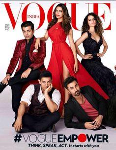 Vogue India October 2014 : Ranbir Kapoor, Aamir Khan, Karan Johar, Deepika Padukone & Kangana Ranaut by Farrokh Chothia Bollywood Girls, Bollywood Stars, Bollywood Fashion, Deepika Ranveer, Deepika Padukone, Ranbir Kapoor, Ranveer Singh, Aishwarya Rai, Vogue Magazine Covers