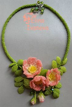 Elina Ivanova is talanted bead artist from Ukraine. She works mostly in bead weaving technics and make amazing flowers necklaces.