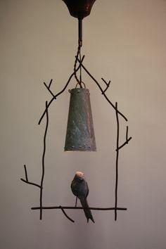 lamp . ethan on perch . patinated iron and papier-mâché bird . benoit vieubled