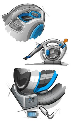 Dustbuster Flexi by Graeme Crawley, via Behance Cool Sketches, Drawing Sketches, Sketching, Sketch Inspiration, Design Inspiration, Designs To Draw, Cool Designs, Sick Drawings, Conceptual Drawing