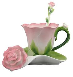 Beddinginn Hand Crafted Collection Porcelain Coffee Tea Cup Sets with Saucer and Spoon Rose Shape Design(Pink) Coffee Cup Set, Coffee Cups And Saucers, Teapots And Cups, Tea Cup Set, My Cup Of Tea, Cup And Saucer Set, Tea Cup Saucer, Teacups, Tea Sets