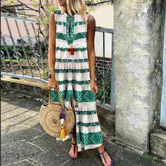 Geometric Print Split Front Maxi Dress Green / S Vacation Dresses, Summer Dresses, Maxi Dresses, Casual Dresses, Long Dresses, Dress Brands, Types Of Sleeves, Manga, Cotton Fabric