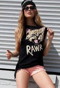 Rawr Kitten Tank - Forever21 #Summer #ColoredDenim #PrintedTee #Beanie #StreetStyle