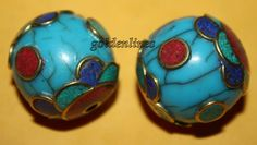 Nepalese Tibetan turquoise beads coral Beads 2 by goldenlines