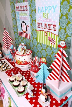 Winter Candyland Penguin Birthday Party http://blowoutparty.com/blog/2010/12/winter-penguin-candyland-birthday-party/