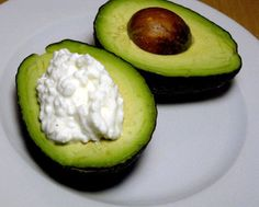 For an easy snack that's packed with fiber and protein, make this creamy cottage cheese avocado. Slice an avocado in half, remove the pit, and fill the hole with low-fat cottage cheese. This snack is a little over 200 calories, so if you're looking for a smaller snack, use one third of an avocado instead.