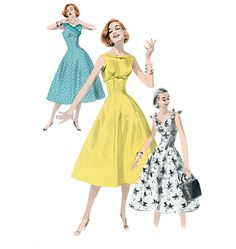 Paper sewing pattern to make a fitted bateau neck dress with lined bodice and flared skirt. Love the 1950s? Find more 50s vintage reproductions and original 50s vintage here. Condition This is a conte