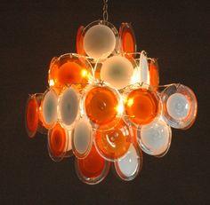 bicolour Vistosi glass disc chandelier 36 discs door ICONICLIGHTS, €1675.00