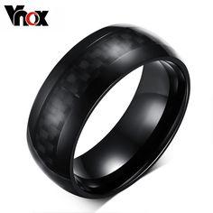 VNOX Men Rings Jewelry 8mm Wide Carbon Fiber Rings for Men Jewelry WOW Get it here