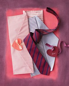You know for that boyfriend i have...but its just so cute!! Necktie Envelope  A tie is a classic gift for him. Make it even more enticing by presenting it in a handmade fabric envelope that he can use for travel. Basic sewing skills are all you need to stitch one up from traditional shirting fabric. And don't forget to seal it with a heart tag