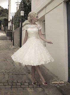 New Custom Size Short Sleeve Knee Length Lace Vintage Short Wedding Dresses 2014