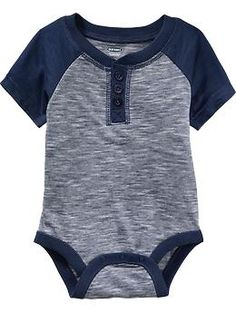 Short-Sleeved Henley Bodysuits for Baby | Old Navy