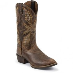 SV2566 Justin Men's Silver Western Boots - Antique Brown www.bootbay.com