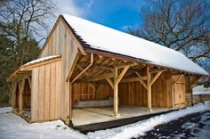 Chester County Carriage Shed - traditional - Garage And Shed - Philadelphia - Hugh Lofting Timber Framing, Inc. Garage Shed, Barn Garage, Garage House, Timber Frame Garage, Wood Storage Sheds, Wood Shed, Garage Storage, Firewood Storage, Barn Plans