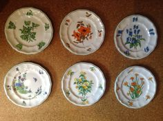 "Crown Staffordshire SIX Colorful Floral 8"" Salad Plates Mixed Patterns #CrownStaffordshire"