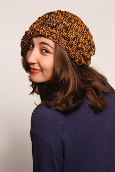 Slouchy Beanie Hat Yellow Mealy Beanie Hat Knitted by duduhandmade