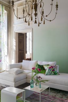 Designers Guild Paysage paired with our Saraille eau de nil wallpaper, for calmness                                                                                                                                                                                 More
