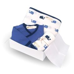 Blue Whale Newborn Gift Set - this makes the perfect going home outfit for baby and comes ready for gifting!