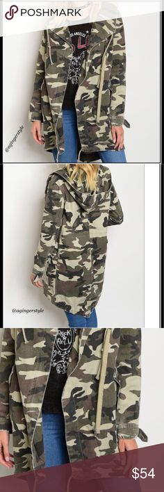 "Camo Hooded Jacket Wardrobe must! Zipper Front Closure Double Flap Long Sleeve Camouflage Jacket with front pockets. It's great for a rainy day as well! It is not labeled as ""waterproof"". You'll love this with shredded jeans, leggings, or shorts! It's so comfortable!  100% Cotton L: 37"" B: 40"" W: 44"" Other measurements upon request since each one is in the Manufacturer packaging. Boutique Jackets & Coats"