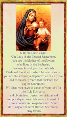 prayer to Our Lady of the Most Blessed Sacrament