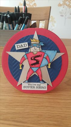 Male card made using Woodware Super Hero stamp.
