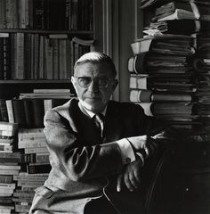 """""""We only become what we are by the radical and deep-seated refusal of that which others have made of us.""""  — Jean-Paul Sartre        Photograph by Ida Kar"""