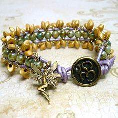 Gold Magatama, Green Druk, Lilac Leather Fairy Om Beadwoven Bracelet