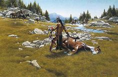 Frank McCarthy Western Art | FRANK MCCARTHY Surrounded Indian Picture