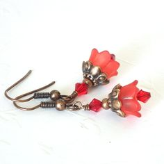 Flower Earrings, Red Lucite Bell Flowers, Red Crystals, Copper. $14.00, via Etsy.
