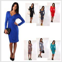 New 2015 Fashion Winter Dress Plus Size Women Clothing Casual Full Sleeve Knee-Length Deep V-Neck Sexy Club Sheath Party Vestido♦️ B E S T Online Marketplace - SaleVenue ♦️👉🏿 http://www.salevenue.co.uk/products/new-2015-fashion-winter-dress-plus-size-women-clothing-casual-full-sleeve-knee-length-deep-v-neck-sexy-club-sheath-party-vestido/ US $12.20
