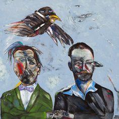Breyten Breytenbach,   friends for life (Die Wonderdokter en P Blum), 2012   Acrylic on canvas  145 x 145cm.