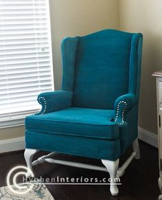 painted with fabric paint! money saver, used chair+ fabric paint = way less than buying a new chair