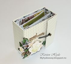 Wedding mini album created for Hobbykunst. Papers from Anna Griffin, Heidi Swapp and Prima's Rose Quartz collection. Link to album tutorial in the blog. Created by Kirsten Hyde.