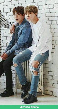 Got Meolk? : Jikook stans: are fed Jikook, Ripped Jeans, Mom Jeans, Bts Fanfiction, Jimin Jungkook, Bts Boys, Wattpad, Couple Photos, Sexy