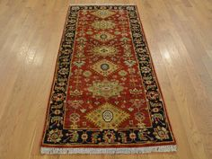 Buy 2.5' x 6' Hand Knotted Runner Karajeh Oriental Rug 100 Percent Wool Rug  #red-rugs #carpet #rug-sale #rug-store #handmade-rugs #wool-rugs #oriental-rugs #modern-rugs