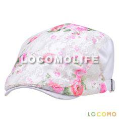 Women Girl Floral Print Mesh Sheer Layer Flat Beret Cap White