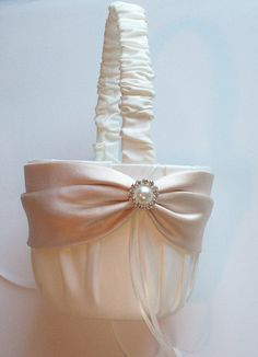 Ivory Flowergirl Basket with Champagne Sash and by JLWeddings, $36.50