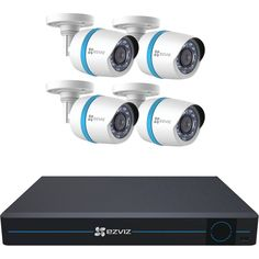 Ezviz - 8-Channel, 4-Camera Indoor/Outdoor Wired 1080p 2TB NVR Surveillance System - Black/White