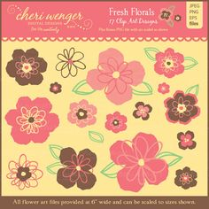 This set of fresh and funky floral clip art is perfect for making invitations, cards, backgrounds or for use on scrapbook pages, web banners, as well as for graphic design and embroidery. The set features a refreshing color palette of pale yellow, melon, coral, brown and lime green. Artwork can be used individually or paired in groupings.