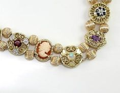 "Solid 10K Yellow Gold Multi Color Gemstone Cameo Diamond Slide Bracelet 7.25""QR"