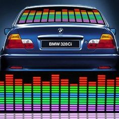 0*10cmm Multicolor Sound Music Rhythm Activated Sensor Flashing Car Glow LED Light Stickers With Car Cigaratte Lighter