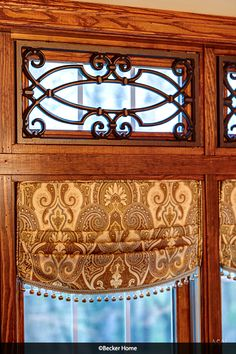 Kitchen valances relaxed roman shades Tableaux ball fringe paisley fabric pleated valance transom window