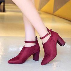 b917f733fda3 Elegant Suede Solid Color Zipper Block Heels Boots For Women