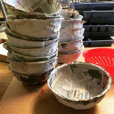 "Paper mache bowls, made with the help of dollar store colanders. I love how the inside is nice and smooth, no matter how ""unsmooth"" the outside might be."