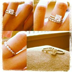 """Promise Ring Engagement Ring and Wedding Band, I love this and am doing it. My rings are very similar to this too, but my """"promise ring"""" was a placeholder while my engagement ring was being made and it's pink sapphires :)"""