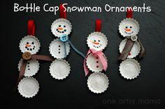 Cute Bottle Cap Ornaments. -Top 20 of The Most Magnificent DIY Christmas Decoration Ideas bottle caps, snowman ornaments, christmas crafts, snowman crafts, diy ornaments, kid crafts, christmas ideas, diy christmas ornaments, diy christmas decorations