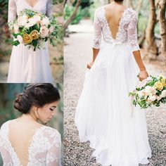 Lace Chiffon Bridal Dresses Boho Lace Dress V-neck 3/4 Long Sleeves Low Back…