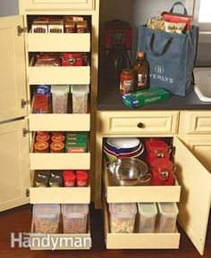 Kitchen Storage: Cabinet Rollouts. Add rollouts to your kitchen cabinets to maximize storage space, provide easier access, streamline your cooking, save your back and simplify clean-up chores.  http://www.familyhandyman.com/kitchen/storage/kitchen-storage-cabinet-rollouts/view-all
