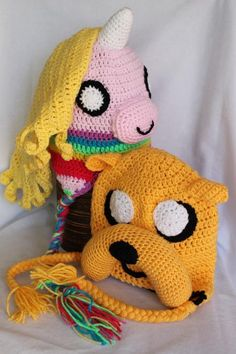 """Jake the dog and his Lady Rainicorn hats from the Cartoon Network show """"Aventure Time"""" You can also find more of my crochet makes on facebook. Mistybelle Crochet"""